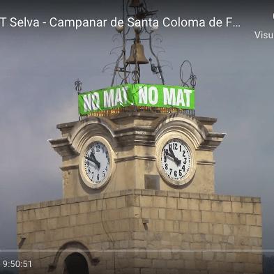 No a la MAT Selva en directe des del campanar de Santa Coloma de Farners